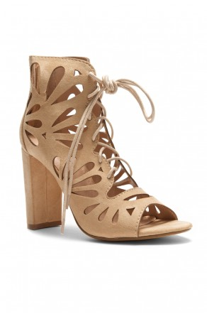 HerStyle Sbbicca Laser Cut Heeled Booties (Nude)