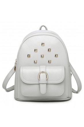 SE3-BP083- Women's Trendy Mini Studded Backpack Purse (Grey)