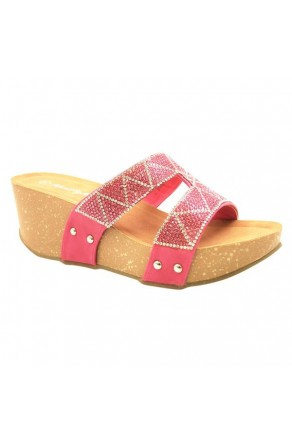 Women's Fuchsia Shaanne 3-inch Crystal Coated Wedge Sandal