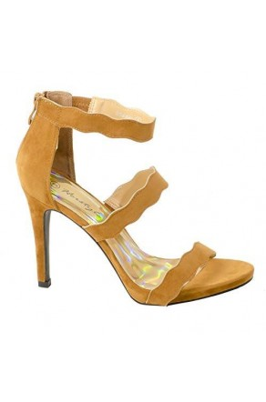 Women's Cognac Manmade Shaayy 4.5-inch Heeled Sandal with Curvy Vamp Strap
