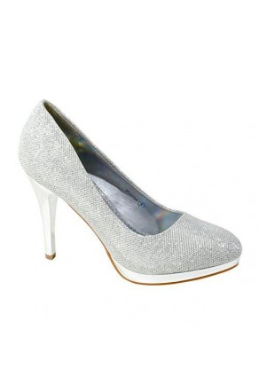 Women's Silver Manmade Shayllaa 4.5-inch Ornamented Pump Heel with Rhinestone Sheen