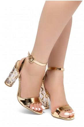 HerStyle Shine Factor-Perspex cylinder heel, Open Toe, Ankle Strap Sandals (RoseGold)