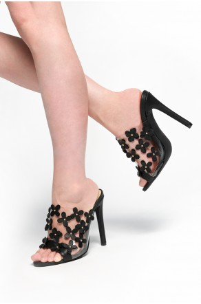 HerStyle Shireen stiletto heel, Perspex with Blossom details (Clear Black)