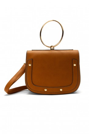 SHR-7065- Elegant Handcarry and Jewellery Stylish Ring Handle Bag (Brown)