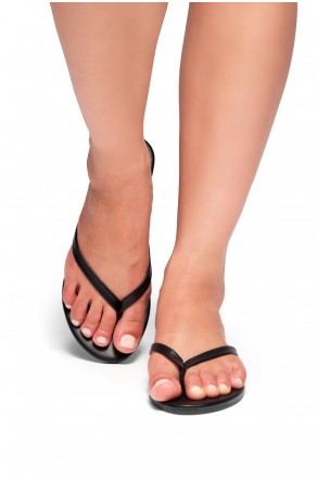 HerStyle SIONA-Easy slip-on Thong Style Flip Flops (Black)