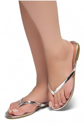 HerStyle SIONA-Easy slip-on Thong Style Flip Flops (Silver)