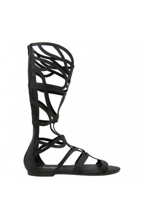 Women's Black Manmade Skravee Tall Gladiator Sandal with Curvy Straps