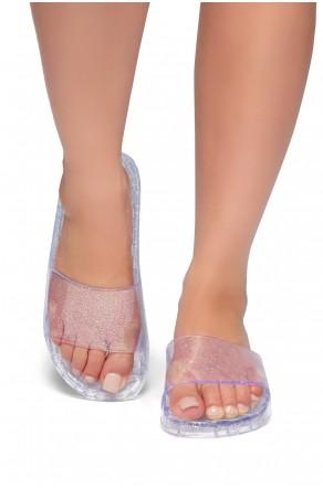 5e4dcd80f99caa HerStyle SL-050117-Glitz Jelly Slide Sandal (Clear)