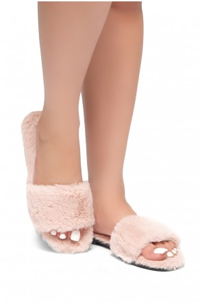 HerStyle SL-050317-Faux fur Sandals (Pink)