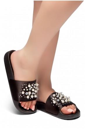 HerStyle SL-05052017 Open Toe Pearled Jewelled Adornment Slide Sandal (Black)