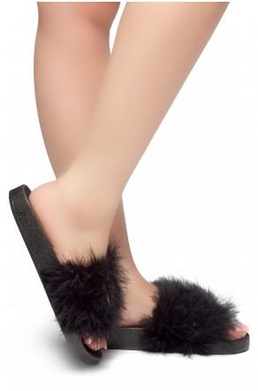 Herstyle Women's SL-05062017 Faux Fur Slide Sandal (Black)