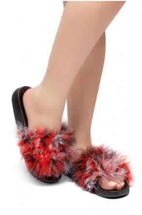 Herstyle Women's SL-05062017 Faux Fur Slide Sandal (Multi)