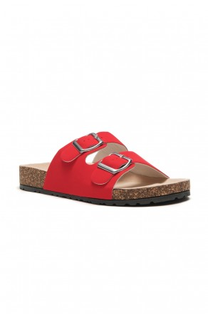 HerStyle SL-110115 Open Toe Buckled Cork Slide Sandal (Fuchsia)