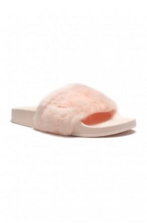 Herstyle Women's SL-160801 Faux Fur Slide Sandal - Pink