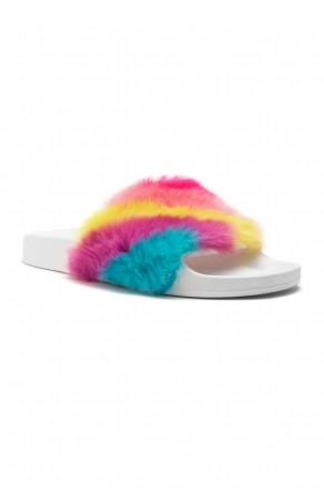 Herstyle Women's SL-160801 Faux Fur Slide Sandal(Rainbow)