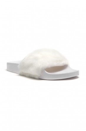 Herstyle Women's SL-160801 Faux Fur Slide Sandal - White