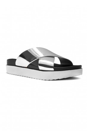 HerStyle SL-161101010 Metallic Cross Band platform Wedge Sandal (Silver)