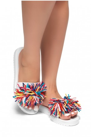 HerStyle SL-16110104-Fringe Sandals (White)