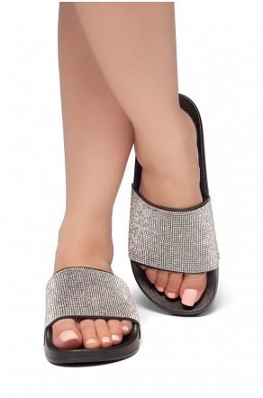 HerStyle SL-170801 Open Toe Jewelled Embellishment Slide Sandal (Black)