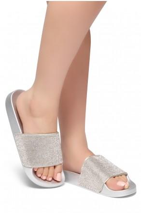HerStyle SL-170801 Open Toe Jewelled Embellishment Slide Sandal (Silver)