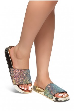 HerStyle SL-170802-Encrusted Iridescent Glitter Open Toe Slide Sandal (RoseGold GLT)