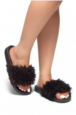 HerStyle SL-170806-Curly Shearling Fur Slide Sandal (Black)