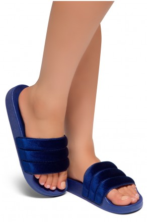 HerStyle SL-170807 Open Toe Slide Sandal (Blue)