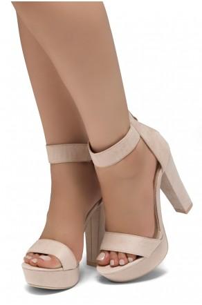 Shoe Land SL-Cutesy-Ankle Strap Chunky Platform Heel (Blush)