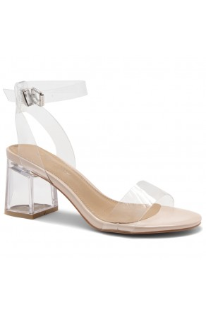 Shoe Land SL-Amaya Perspex Low Block Heel, ankle strap with an adjustable buckle (ClearNude)