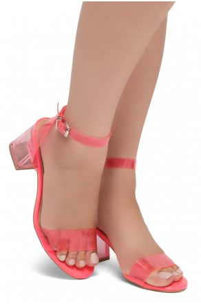 Shoe Land SL-Amaya Perspex Low Block Heel, ankle strap with an adjustable buckle (NeonPink)