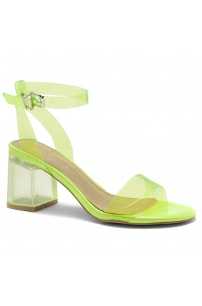 Shoe Land SL-Amaya Perspex Low Block Heel, ankle strap with an adjustable buckle (NularLime)