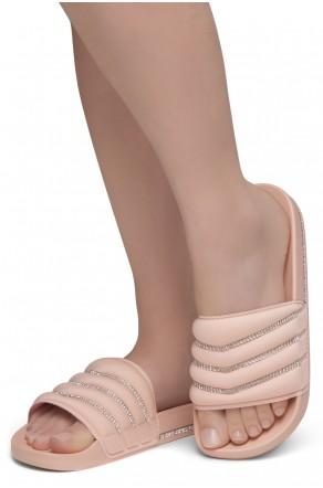Shoe Land SL-Best Wishes-Women's Fashion Rhinestone Slide Slip On Summer Sandals (1901MAU/MAU)