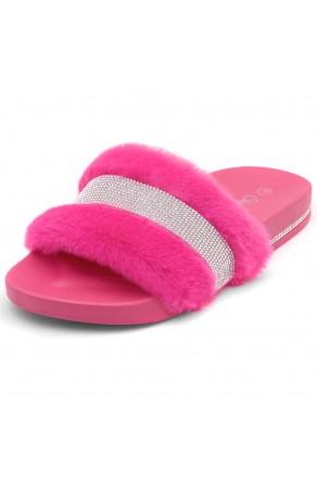Shoe Land SL-Best Wishes-Women's Fashion Furry Slide Slip On Sandals (2021Fuchsia)