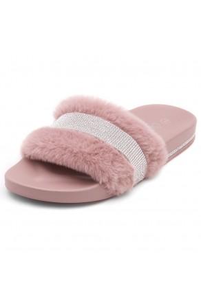 Shoe Land SL-Best Wishes-Women's Fashion Furry Slide Slip On Sandals (2021Mauve)