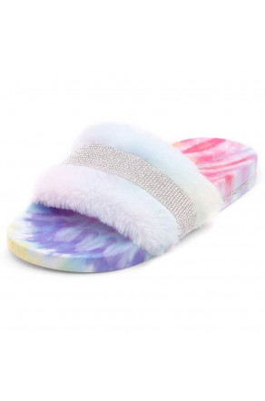 Shoe Land SL-Best Wishes-Women's Fashion Furry Slide Slip On Sandals (2021Multi)