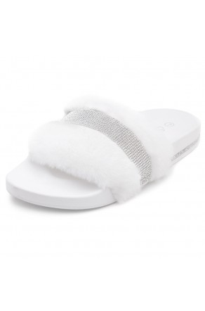Shoe Land SL-Best Wishes-Women's Fashion Furry Slide Slip On Sandals (2021White)