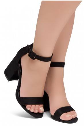 Shoe Land SL-CABRINI- Low Chunky Block Heel Ankle Strap Sandals (Black)