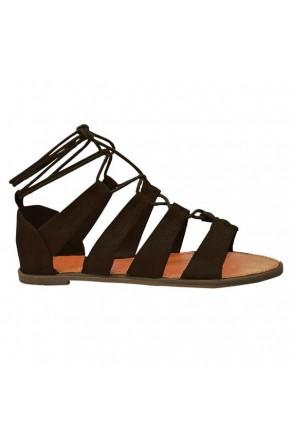 Women's Black Sl-Callie Lace-up Gladiator Sandal