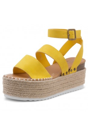 Shoe Land SL-Capri Womens Open Toe Ankle Strap Platform Sandals Causal Espadrille Wedge Shoes(Yellow)