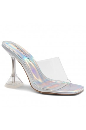 Shoe Land SL-Cllaary-Women's Clear Peep Toe Slip on Heeled Mules Slipper (1996/ClearSilver)
