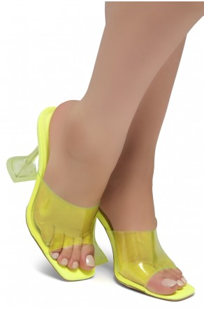 Shoe Land SL-Cllaary-Women's Clear Peep Toe Slip on Heeled Mules Slipper (1996/NularLime)