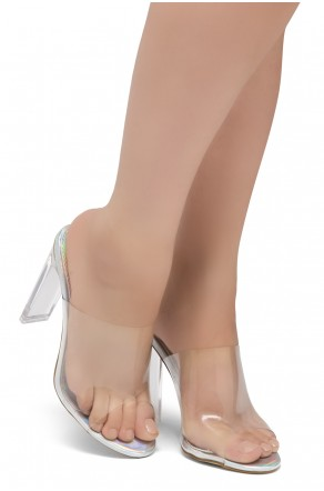 Shoe Land SL-Cllaary Perspex heel, Slide On Sandals(2020/ClearSilver)