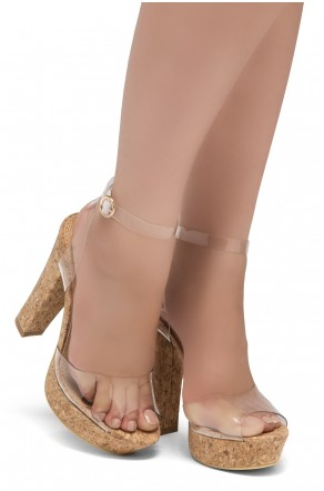Shoe Land SL-Cutesy-Open Toe Open Back Chunky Platform Heel (1836/CorkClear)