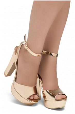 Shoe Land SL-Cutesy-Open Toe Open Back Chunky Platform Heel (1836/Rosegold)