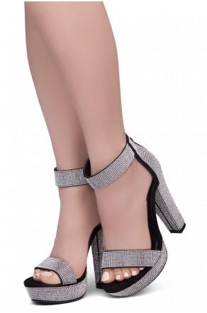 Shoe Land SL-GRACE Women's Open Toe Ankle Strap Chunky Platform Dress Heel Sandal(2020BlackSilver)
