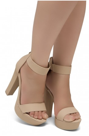 Shoe Land SL-Cutesy-Ankle Strap Chunky Platform Heel (Sand)