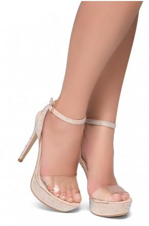Shoe Land SL-Lascala- Ankle Strap and Perspex Vamp Platform Sandals (Clear/Nude)