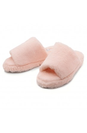 Shoe Land SL-McKenna Womens Fuzzy Slides Open Toe Casual Platform Wedge Sandals Plush Fleece Indoor or Outdoor Slippers (2020/PNK)