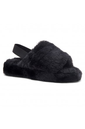 Shoe Land SL-MCKENNA Women's Fluffy Slide Slippers Fuzzy Platform Sandals with Elastic Strap (Black)