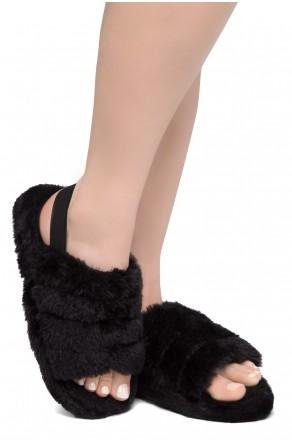 Shoe Land SL-MCKENNA Women's Fluffy Slide Slippers Fuzzy Platform Sandals with Elastic Strap (Black)